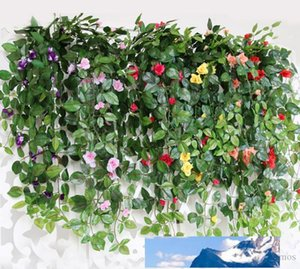 Wholesale pink rose vine resale online - 10PCS Artificial Rose Hanging Flower Vine Decoration Wedding flower backdrop romantic IVY Wall Mounted Red Pink Champagne Vine Supplies