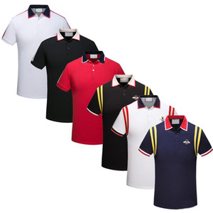 2020 Italy Mens Designer Polo Shirts Man High Street Embroidery Garter Snakes Little Bee Printing Brands Top Quality Cottom Clothing Tees