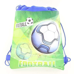 Wholesale kids party favors bags resale online - Birthday Drawstring Football Backpack Bags Non Woven Fabric Pvmwm cmx27cm Party Kids Supplies Favors Green Boy Odohd
