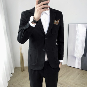 2020 winter men's Korean version of the thick woolen suit suit groom hairdresser cashmere slim jacket suit tide (top + pants)