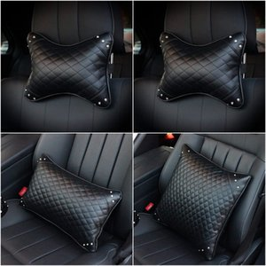 Wholesale headrest leather resale online - Hot Leather Crystal Diamond Car Headrest Neck Pillow Auto Seat Interior Accessories Neck Safety Support Waist Cushion Supplies
