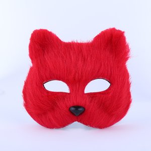 máscara de raposa sexy venda por atacado-Halloween Fox Fur Mask Mulheres Masquerade Party Sexy Máscara Moda Fox Meio animal Fox Cosplay dança Máscaras Plush Toys DH0126