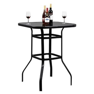 Wholesale bars tables resale online - WACO High Bar Table Glass Top Steel Garden Balcony Poolside Lawn Yard Bistro Furniture Bar Table Black