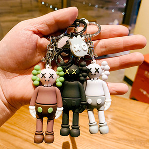 ingrosso in accessori per auto-KAWS Doll Designer catena portachiavi Keychain nuovo modo di Sesame Street Key PVC Accessori Action Figures Charms giocattoli sacchetto Portachiavi Car Holder
