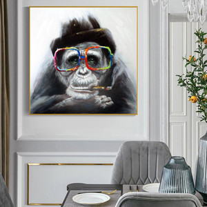 Wholesale canvas prints for kids room resale online - Monkey Smoking a Cigar Graffiti Art Canvas Paintings On the Wall Art Posters And Prints Black Monkey Art Pictures For Kids Room