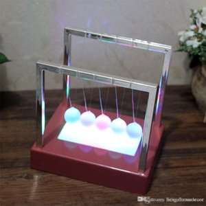 Wholesale newtons cradle resale online - Large Newtons Balance Ball Home Decor Two Size LED Pendulum Early Educational Cradle Balance Colorful Balls Desk Decor Toys TQQ BH1091