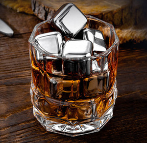 304 stainless steel Ice wine stone Food grade Whiskey Chilling Stones Cubes with ice tong home party Barware Coolers drop ship