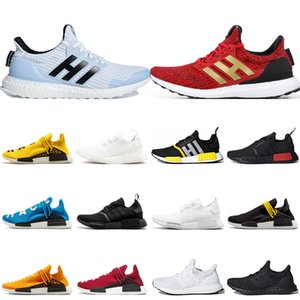 Wholesale race stripe resale online - 2020 Cheap R1 hu Human Race Running Shoes Pharrell Williams For Men Women White Walker Red Stripes Oreo Sports Sneakers Mens Trainers