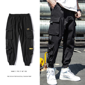 Mens Spring Hip Hop Joggers Black Harem Cargo Pants Multi-pocket Ribbons Male Sweatpants Streetwear Casual Pants M-3XL