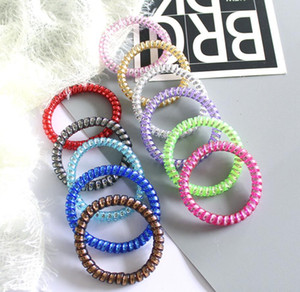 Telephone Wire Cord Gum Hair Tie 6.5cm Girls Elastic Hair Band Ring Rope Candy Color Bracelet Stretchy Scrunchy
