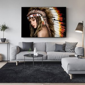 Wholesale modern indian wall art resale online - Indian Pretty Girl Wall Art Canvas Prints Modern Girl With Feather Wall Posters And Prints Art Canvas Paintings For Living Room