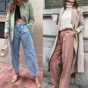 New women Streetwear Pleated Mom Jeans High Waist Loose Slouchy Jeans Pockets Boyfriend Pants Casual Ladies Denim Trousers