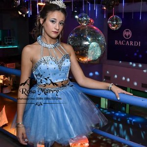 Wholesale two piece dresses short prom girl for sale - Group buy Sparkly Crystals Blue Short Prom Dresses Sexy Halter Two Pieces Formal Homecoming Party Gowns For Girls Vestido De Fiesta