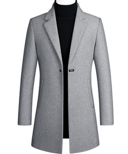 Designer Men Wool Trench Coat Single Button Fashion Winter Business Long Thicken Slim Fit Overcoat Jacket Parka Mens Clothing Plus Size 4XL