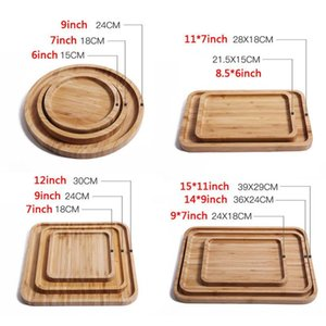 Round Square Wood Plate Dish Sushi Platter Dish Dessert Biscuits Plate Dish Tea Server Tray Cup Holder Pad 12 Sizes Customizable
