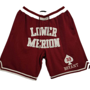 New Shorts High School Shorts Vintage Basketball Shorts Zipper Pocket Running Clothes Lower Merion Red Color #33 Just Done Size S-XXL