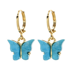 Butterfly Earrings Acrylic Candy Color Charm Stud Earring Butterfly Drop Earrings Animal Sweet Colorful for Girls Jewelry