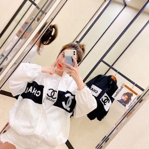 The new web celebrity summer design of the same style of sunscreen fashion loose embroidery zipper thin lovers coat s-xxxl