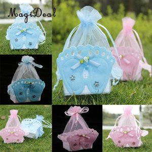 Wholesale kids party favors bags resale online - 12 Pieces Baby Footprint Gift Treats Box Bags Girl Boy Baby Shower Kids Birthday Party Organza Candy Bags Favors