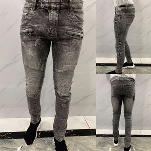 Designee Fashion Mens Slim-leg Jeans High Quality Black Skinny Fit Spliced Ripped Jeans High Street Destroyed Biker Denim Jeans 29-38