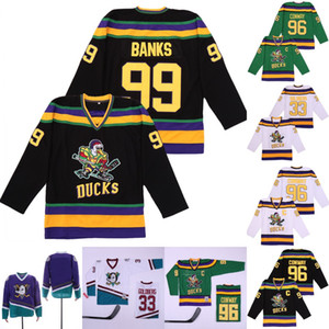 fulton venda por atacado-Mighty Ducks Filme Gordon Bombaim Charlie Conway Adam Banks Greg Goldberg Fulton Reed Hockey Jersey