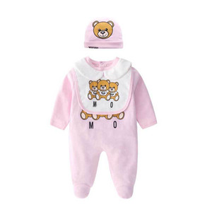 Wholesale halloween bibs for sale - Group buy Kids Designer Clothes Boys Letter Jumpsuit Newborn Romper Baby Infant Toddler Hat Bib Robe Set Luxury Baby Girls Designer Clothes