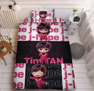 1set free shipping bts tiny tan bedding sets quilt cover 150*200cm, flat sheet 160*220cm,pillow case 45*74cm