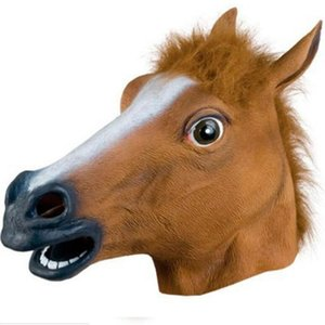 Wholesale horse face mask resale online - Cosplay Halloween Horse Head Mask Animal Party Costume Prop Toys Novel Full Face Head Masks with Sea Shipping CCA12442