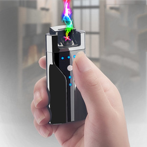 Wholesale usb fire lighter resale online - USB Charging Lighter With Power Display Double Fire Cross Twin Arc Pulse Electronic Cigarette Lighters Flameless Windproof Lighter BH2998 BC