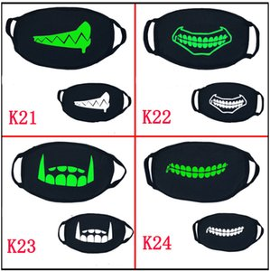 Wholesale punk face masks resale online - Black Cartoon Face Mask Funny Teeth Punk Luminous Ghost Skull Anti Dust Winter Cubre Bocas Hombre Cotton Mouth Mask GWC3052