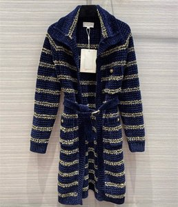European and American women's wear 2020 winter new style Long - sleeved lapel with gold thread and stripe knit cardigan coat
