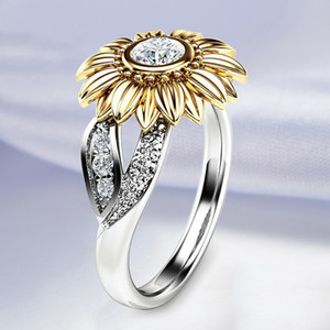 Wholesale sunflowers ring for sale - Group buy Cubic Zircon Sunflower Wedding Rings For Women Trendy Purple Colors Copper Birthday Crystal Stone Engagement Ring For Women