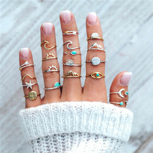 Wholesale moon rings resale online - 19 Set Boho Compass Arrow Starfish Wave Moon Eyes Gem Opening Midi Rings for Women Charm Rings Set Jewelry Gift