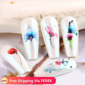 Wholesale pink flower nail designs for sale - Group buy Nail Stickers Art Butterfly Water Decals Set Flower Design Nails Decorations Accessories Sticker Slider Via FEDEX