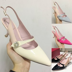 Wholesale fashion q resale online - 2020 New Fashion Womens Slingbacks High Heel Sandals With Hi Q Soft Patent Leather And Party Wedding Shoes cm Heel height Leather Soles