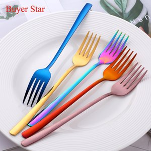 Wholesale long handle fork for sale - Group buy 2PC Korean Stainless Steel Dinnerware Prong Fork Rose Gold Cooffee Spoon Set Long Handle Black Korean Ladle Kitchen Tools