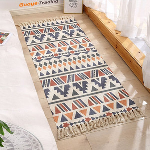 carpet mat floor blanket bedroom door bedside mats retro plain tapestry handmade study bedroom sofa cushion Ethnic style cotton and linen