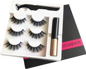 3 Pairs Magnetic Eyelashes False Lashes +Liquid Eyeliner +Tweezer eye makeup set 3D magnet False eyelashes Natural reusable No Glue Needed