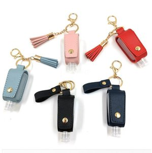 Wholesale liquid hand sanitizer for sale - Group buy 30ML Hand Sanitizer Bottle Cover T shape Storage Bags Tassel Holder Keychain Outdoor Potable Liquid Pouch PU Bags DDA336