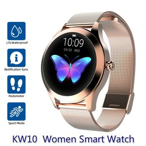Wholesale women watches golden resale online - IP68 Waterproof Smart Watch Women Sleep Monitoring Heart Rate Monitor Fashion Lovely Smartwatch KW10 Bracelet For Android IOS Phone