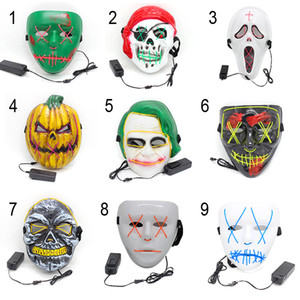 Wholesale purge masks resale online - Halloween LED Mask Funny Masks Festival Cosplay Costume Supplies Party Light Skull Mask Purge New Year Glowing In Dark Mask CY BH2070