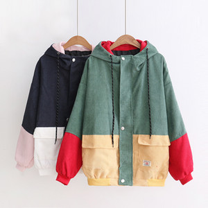 Kids Clothing Outwear Jackets Student Girls Fashion Warm Corduroy Hooded