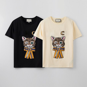 katzen kleidung großhandel-Womens Pailletten T shirts Mädchen Cartoon Cat Print Top Frauen Casual Outdoor T Shirt Jugend Mode Kleidung Mode T Shirts