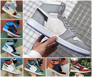 2020 1s High Light Smoke Grey Mens basketball shoes Shattered Backboard jumpman 1 Obsidian UNC White to Chicago Women Travis Scotts Sneakers