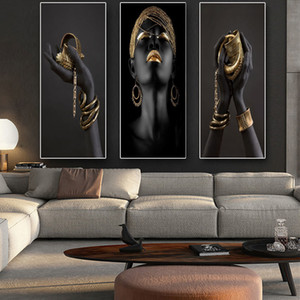 Wholesale african home decor walls for sale - Group buy African Woman Art Paintings On the Wall Art Posters And Prints Black Hands Holding Golden Jewellery Canvas Pictures Home Decor