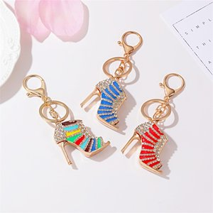 Colorful Epoxy Craft Set High Heels Shoes Keychain Ladies Bag Accessories Metal Pendant Small Gift Jewelry