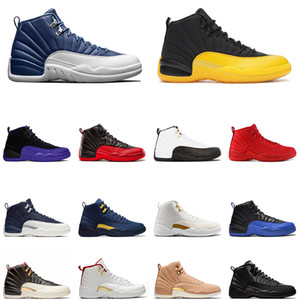 alas de oro al por mayor-12 Zapatillas baloncesto de hombre Winterize Gym Red s College Navy Michigan WINGS bulls Flu Game the master black white taxi Zapatillas Zapatos de deporte