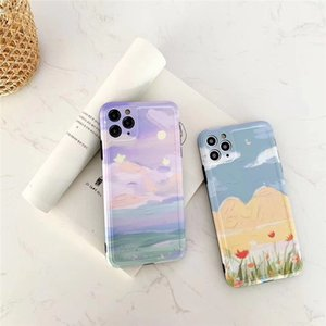 Wholesale mount fuji resale online - Space Planet Garden cherry blossom Mount Fuji Love pattern Phone Case For iphone SE XR XS pro max soft silicone case