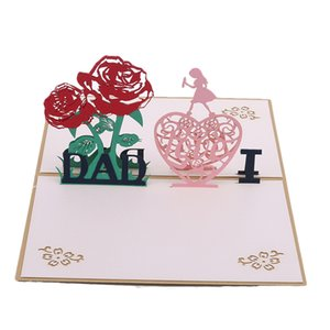 Wholesale fathers day card for sale - Group buy 1Pc Up Greeting Cards With Envelope Laser Cut Post Cards For Birthday Father Day Valentine Day Party Wedding Decor