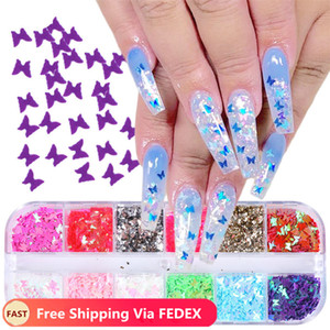 Wholesale acrylic nail powder mix for sale - Group buy 12 Grids Colorful Butterfly Nail Glitter Sequins Mixed Powder Foils Decals Ultrathin Flakes for Acrylic Nails Art Decor